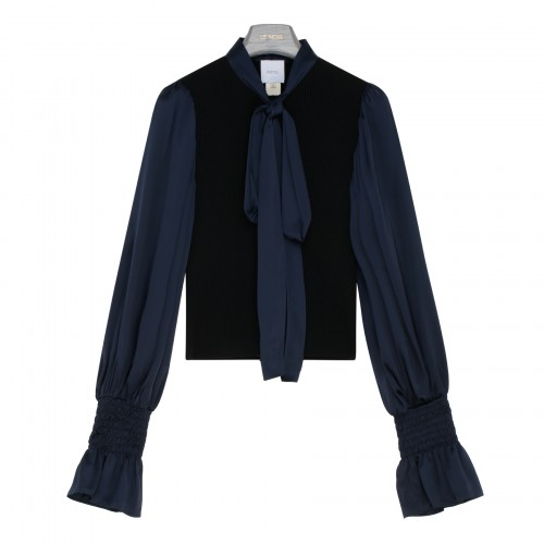 Navy satin and wool blouse