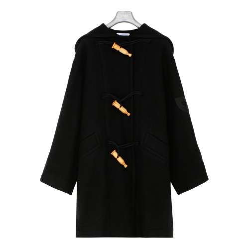 Black wool and cashmere duffle coat