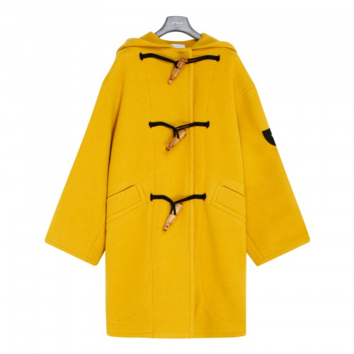 Yellow wool and cashmere duffle coat