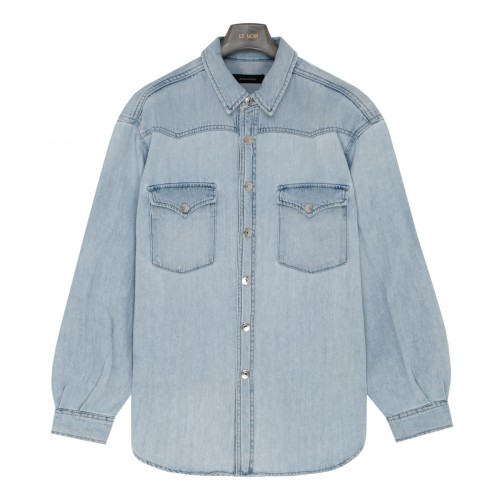 Round denim shirt with padded shoulders