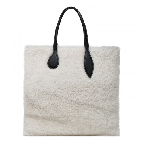 Sprout large leather and shearling tote