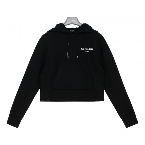 Black cotton hoodie with logo