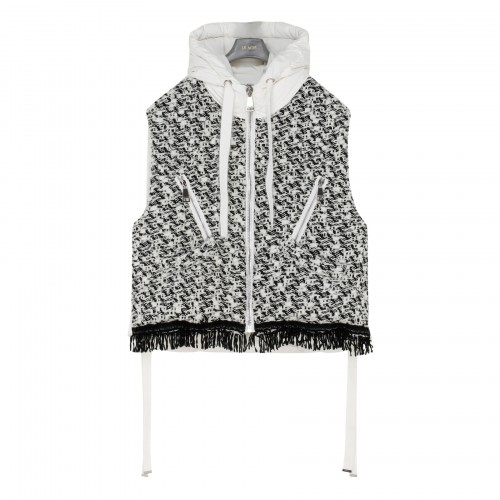 Puff white and black tweed down vest
