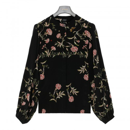 Black silk blouse with roses print