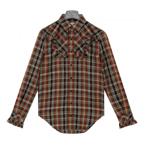 Ruched check Western shirt