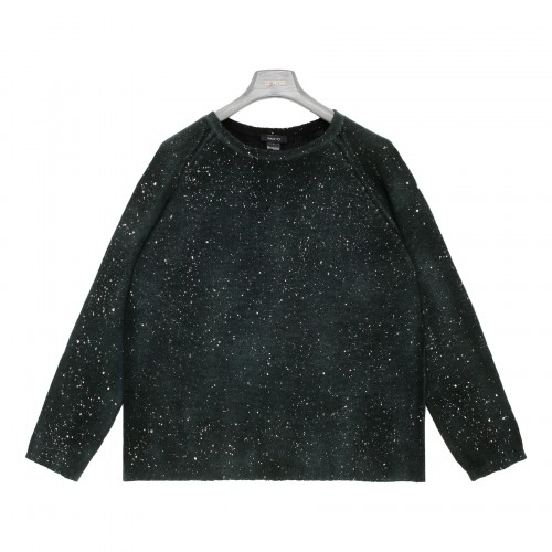 Green cashmere sweater with glitter
