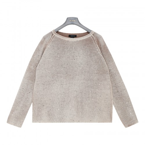 Taupe cashmere sweater with glitter