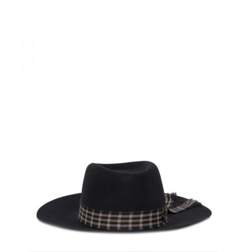 Hat with check embellishment