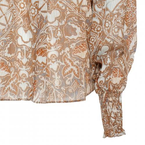Asymmetrical silk dress in lamé stripes