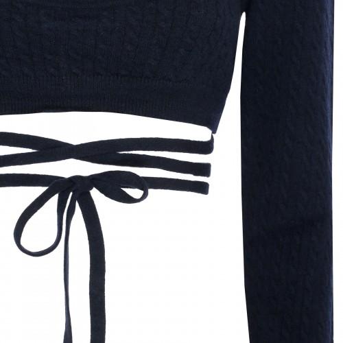 Blue denim dress with lace