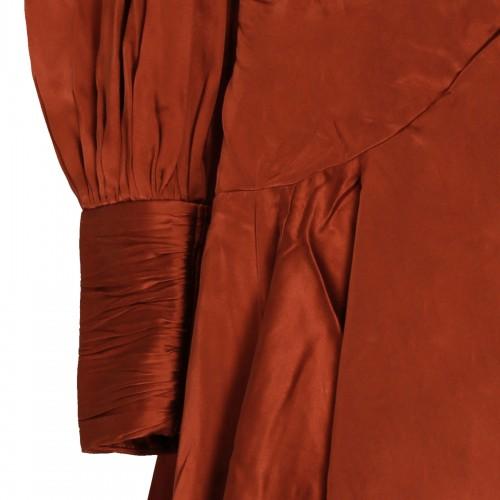 Red plunge dress